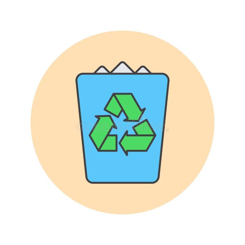 Kosz na śmieci cienka kreskowa ikona, śmieci wypełniał konturu loga wektorową bolączkę ilustracja wektor