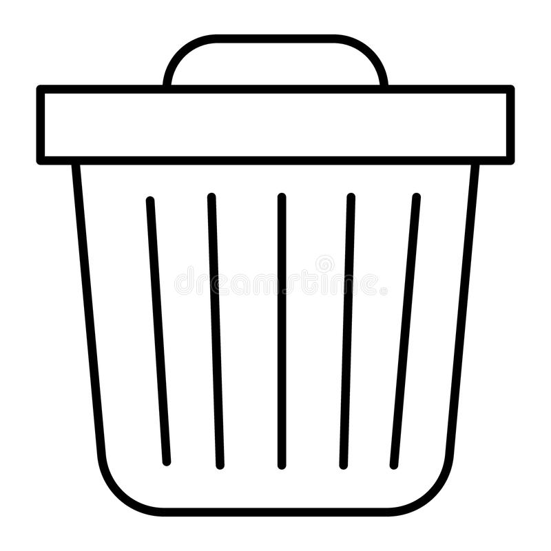 Kosz na śmieci cienka kreskowa ikona Kubeł na śmieci wektorowa ilustracja odizolowywająca na bielu Śmieciarski konturu stylu proj royalty ilustracja