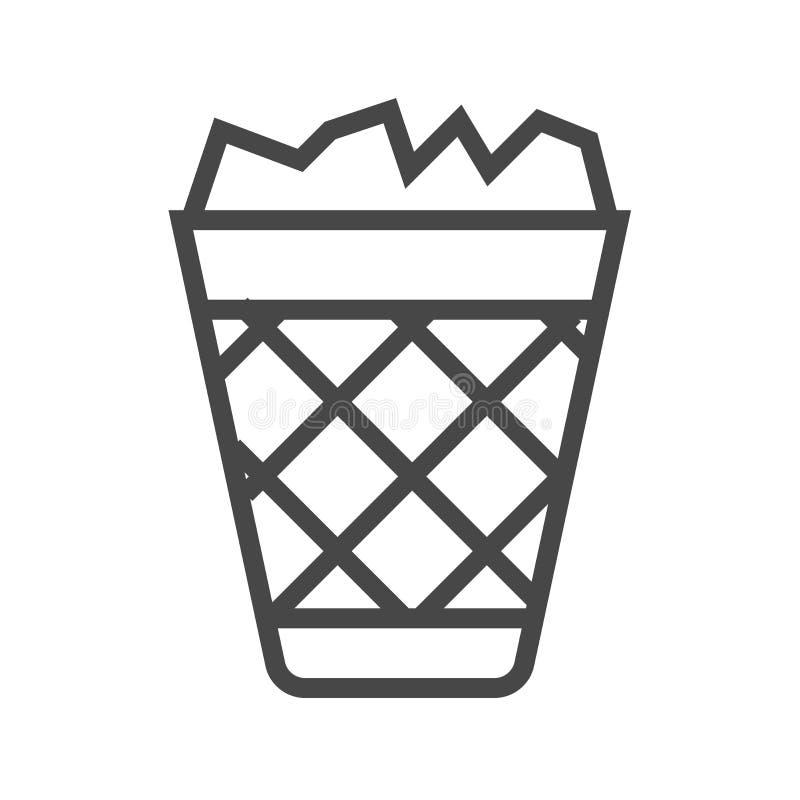 Kosz Na Śmieci Cienka Kreskowa Wektorowa ikona ilustracji