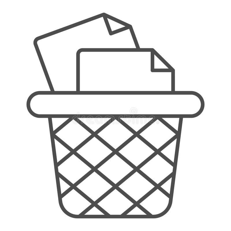 Kosz na śmieci dla papierów cienieje kreskową ikonę Biurowego kubła na śmieci wektorowa ilustracja odizolowywająca na bielu Śmiec ilustracji
