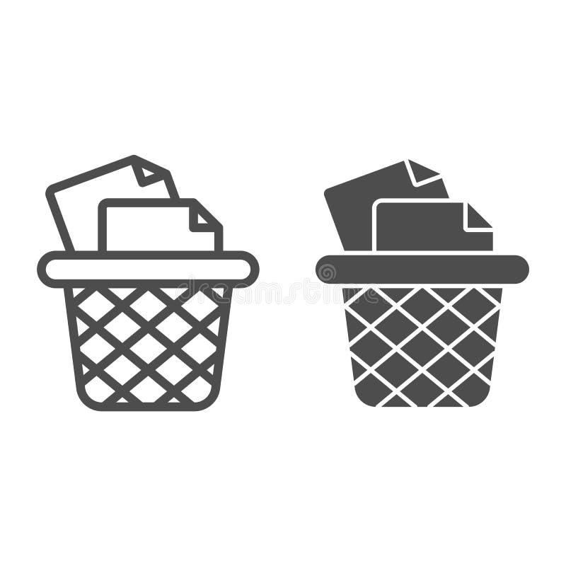 Kosz na śmieci dla papier linii i glif ikony Biurowego kubła na śmieci wektorowa ilustracja odizolowywająca na bielu Śmieciarski  ilustracja wektor