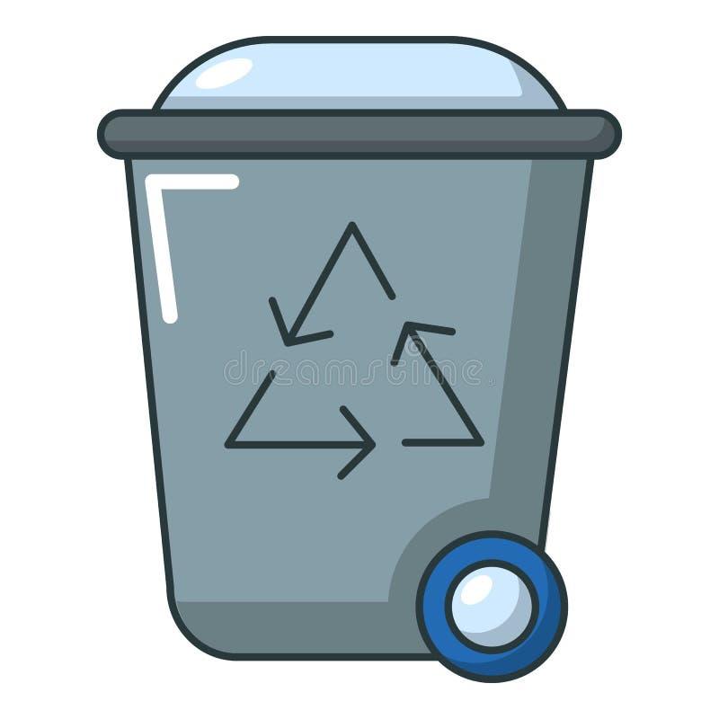 Kosz na śmieci ikona, kreskówka styl ilustracji