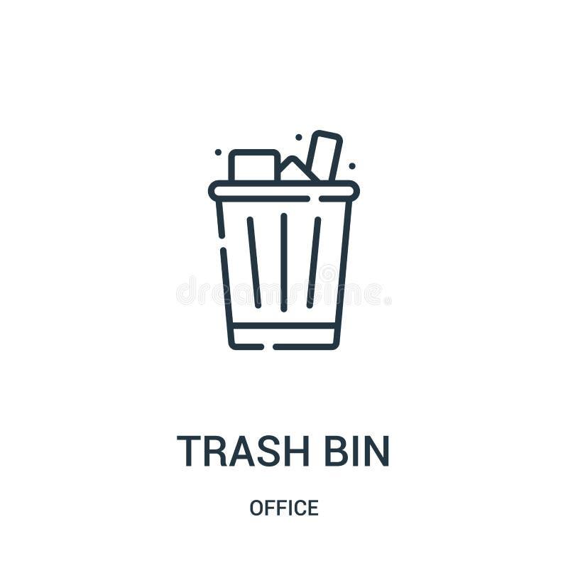 kosz na śmieci ikony wektor od biurowej kolekcji Cienka kreskowa kosza na śmieci konturu ikony wektoru ilustracja royalty ilustracja