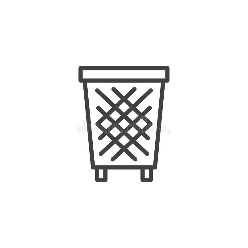 Kosz na śmieci konturu ikona royalty ilustracja