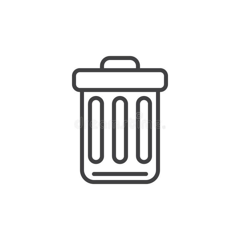 Kosz na śmieci kreskowa ikona, konturu wektoru znak, liniowy stylowy piktogram odizolowywający na bielu royalty ilustracja