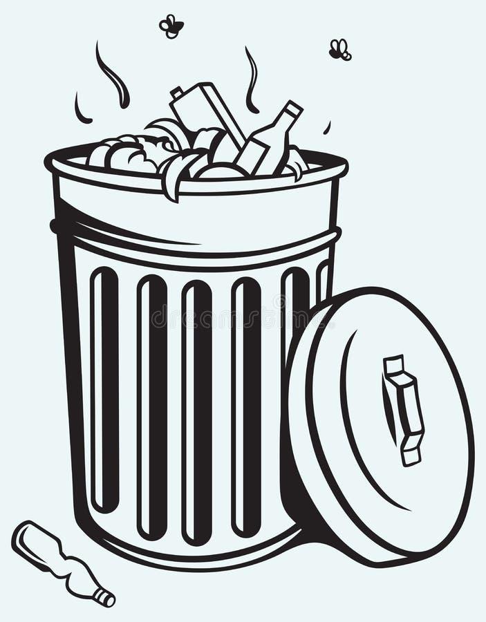 Kosz na śmieci pełno śmieci royalty ilustracja
