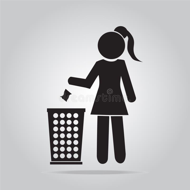 Kosz na śmieci z kobieta symbolem ilustracji