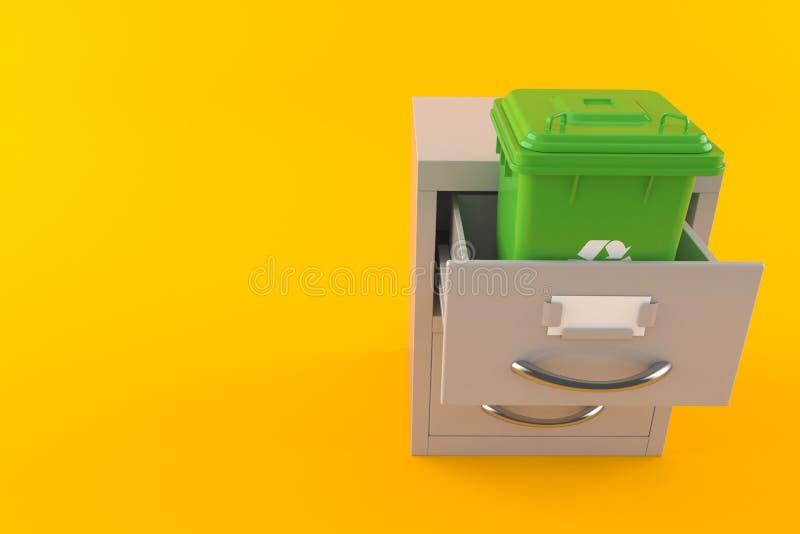 Kosz na śmiecie wśrodku archiwum szafki ilustracja wektor
