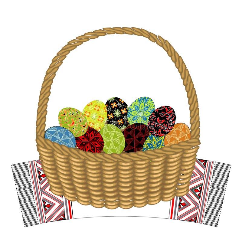 Kosz na dekoracyjnym r?czniku W mnie s? Wielkanocni jajka z maluj?cymi ornamentami Symbol wielkanoc Antyczna tradycja ludzie ilustracji