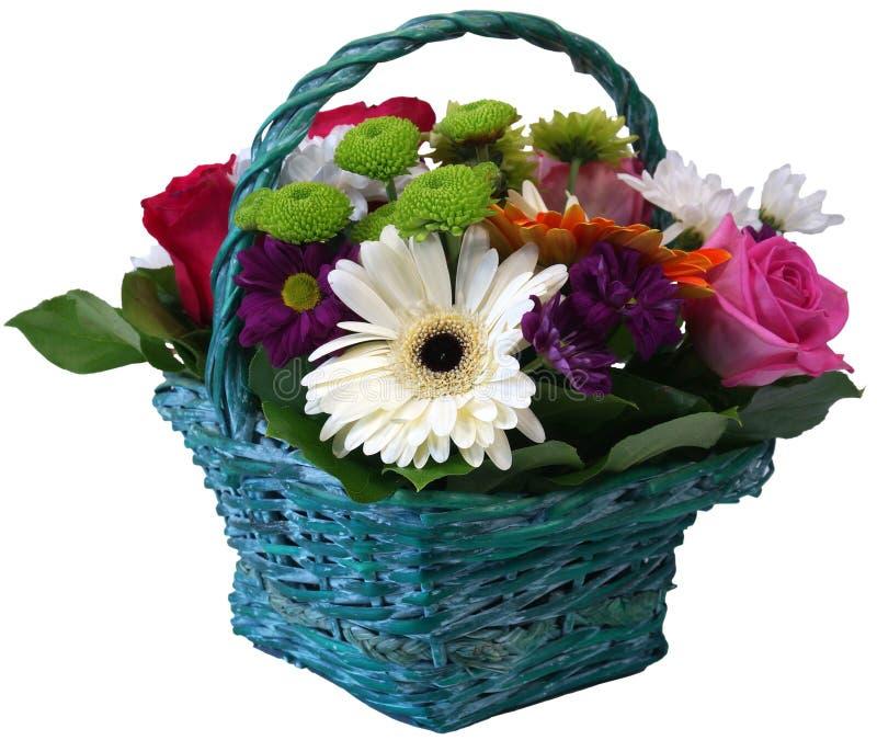 Kosz róż chryzantemy i gerbera kwiaty fotografia royalty free