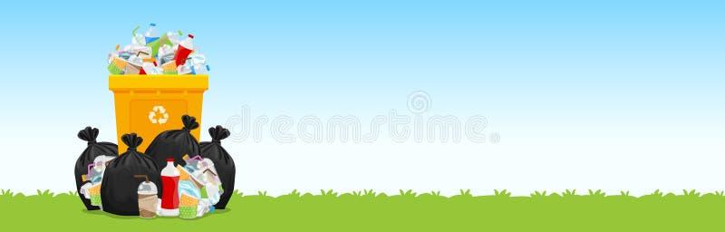 Kosz, udziały torba na śmiecie klingeryt marnotrawi przy trawy podłogą, wiele grat torby klingeryt, wiele grat butelki papier ilustracji