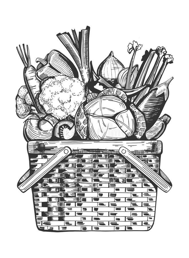 Kosz warzywa ilustracji