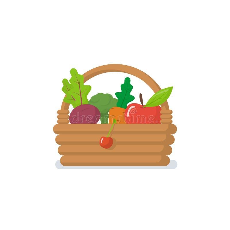 Kosz warzywo ikona royalty ilustracja