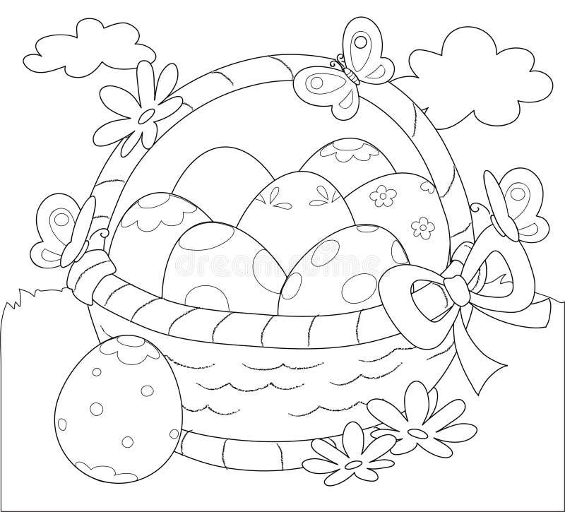Kosz Wielkanocni jajka barwi wektor royalty ilustracja