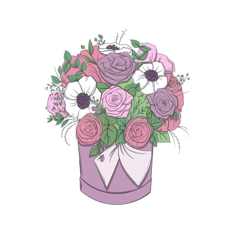Kosz z bukietem jaskrawi kwiaty w koszu odizolowywającym royalty ilustracja