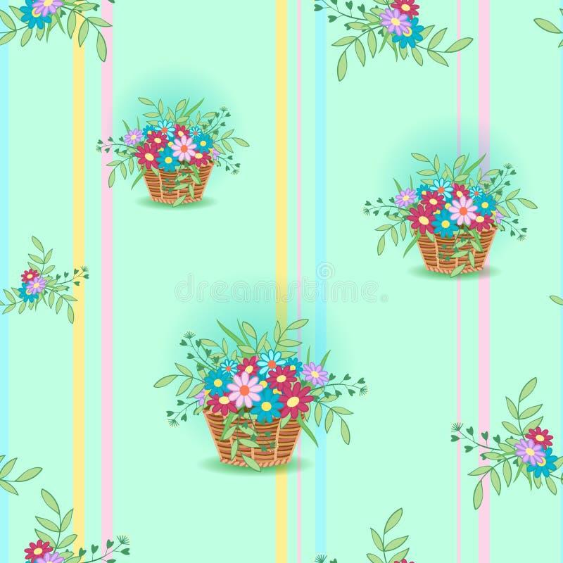 Kosz z flowers15 royalty ilustracja