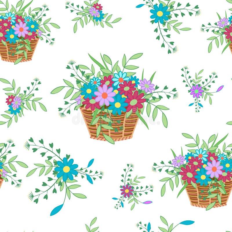 Kosz z flowers16 royalty ilustracja