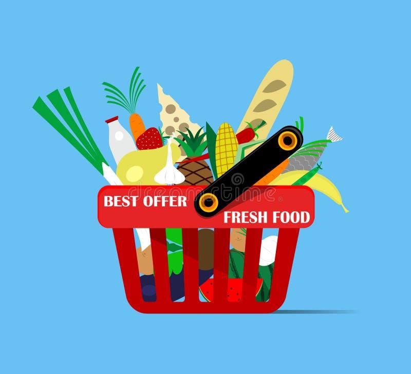 Kosz z foods ilustracja wektor
