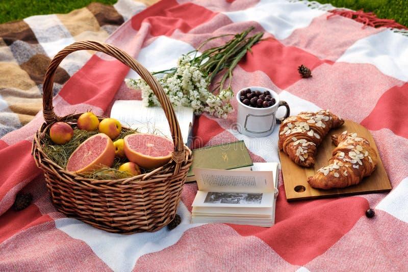 Kosz z grapefruitowym i morele, szkło z wiśnią, bukiet biali kwiaty, dwa croissants na drewnianej desce, rezerwujemy zdjęcia stock