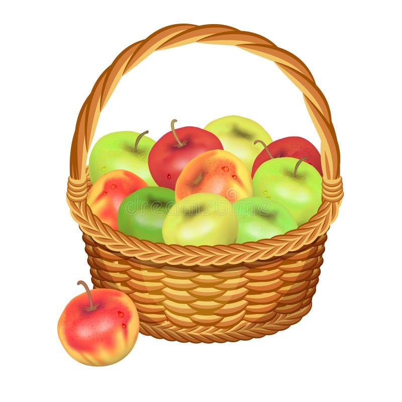 Kosz z jabłko owoc również zwrócić corel ilustracji wektora royalty ilustracja