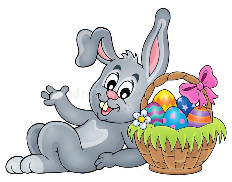 Kosz z jajkami 2 i Wielkanocnym królikiem ilustracja wektor