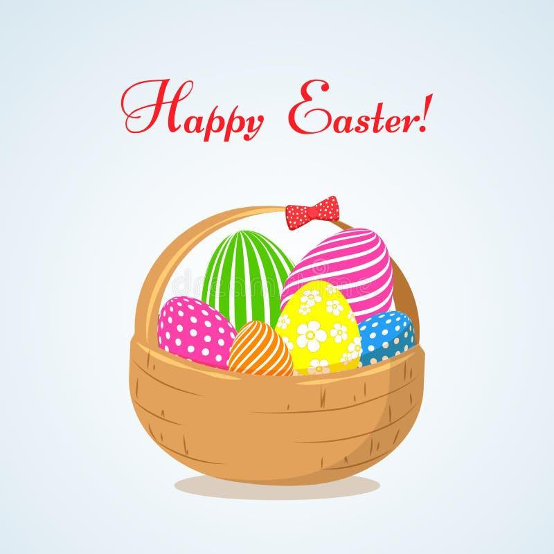 Kosz z jaskrawymi Wielkanocnymi jajkami symbol uczta Wielkanocny Dekoracyjny projekta element w mieszkanie stylu dla kartek z poz royalty ilustracja