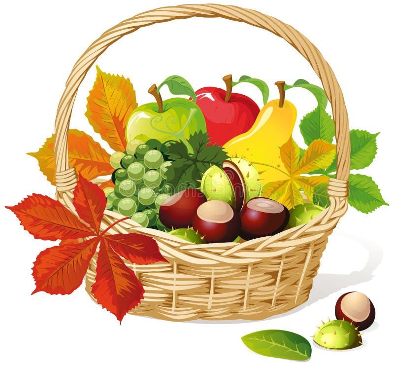Kosz z jesień owoc ilustracji
