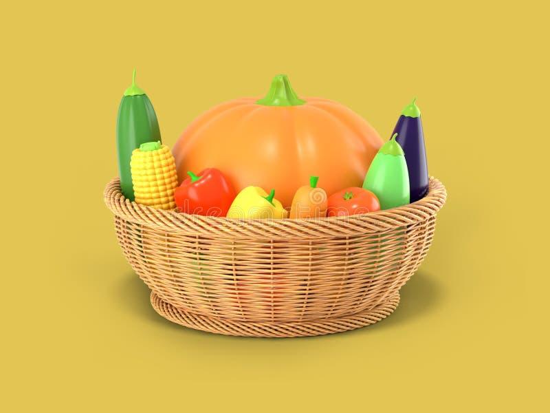 Kosz z jesieni żniwem warzywa na żółtym barwionym tle Bania, kukurudza, zucchini, oberżyna, pomidor, pieprz wewnątrz ilustracja wektor