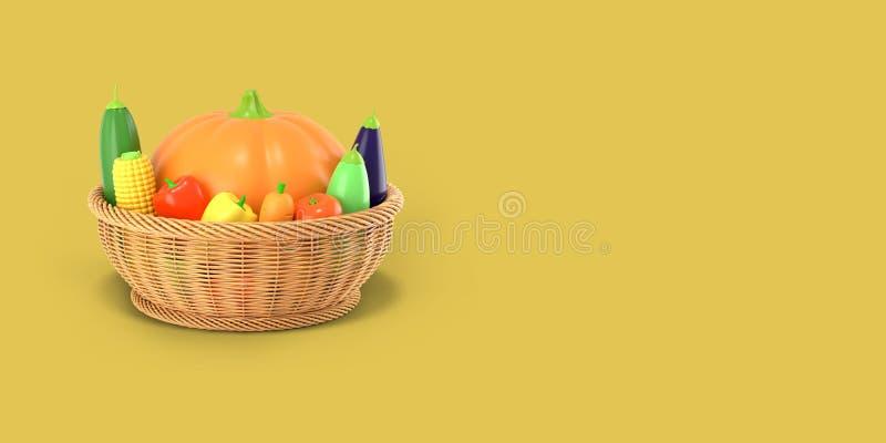 Kosz z jesieni żniwem warzywa na żółtym barwionym tle Bania, kukurudza, zucchini, oberżyna, pomidor, pieprz wewnątrz ilustracji