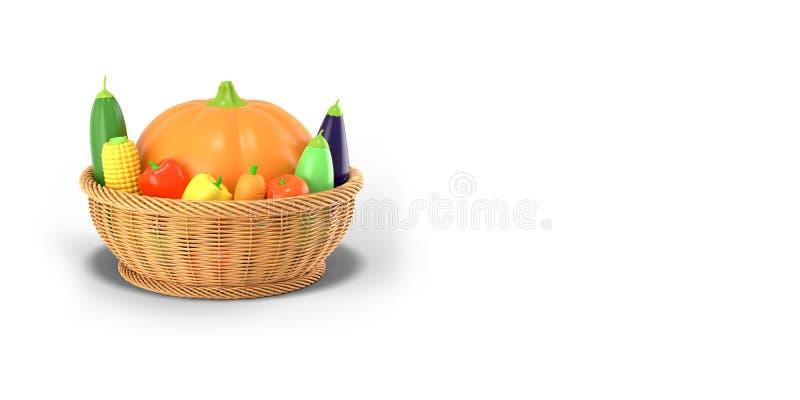 Kosz z jesieni żniwem warzywa na białym barwionym tle Bania, kukurudza, zucchini, oberżyna, pomidor, pieprz wewnątrz royalty ilustracja