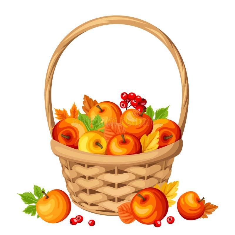 Kosz z kolorowymi jesieni jabłkami, liśćmi i również zwrócić corel ilustracji wektora ilustracji