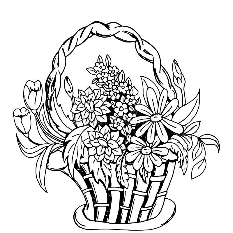 Kosz z kwiatami ilustracja wektor