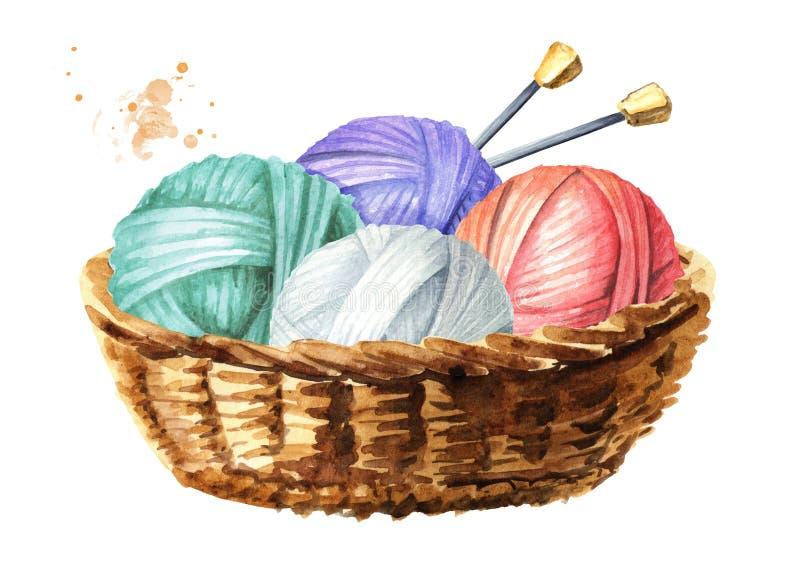 Kosz z piłkami wełna z dziewiarskimi igłami, akwareli ręka rysująca ilustracja, odizolowywająca na białym tle ilustracja wektor