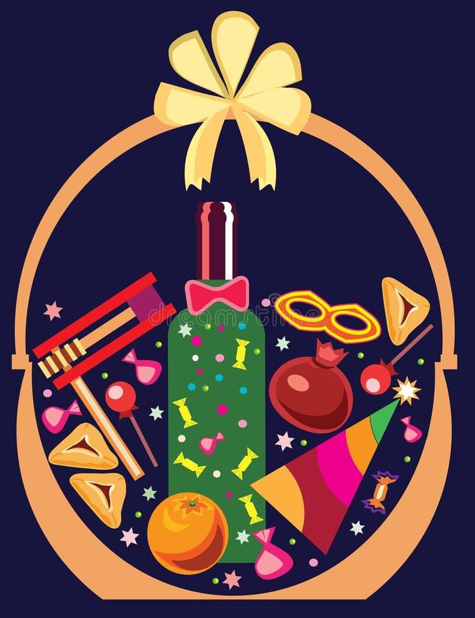 Kosz z prezentami dla Purim royalty ilustracja