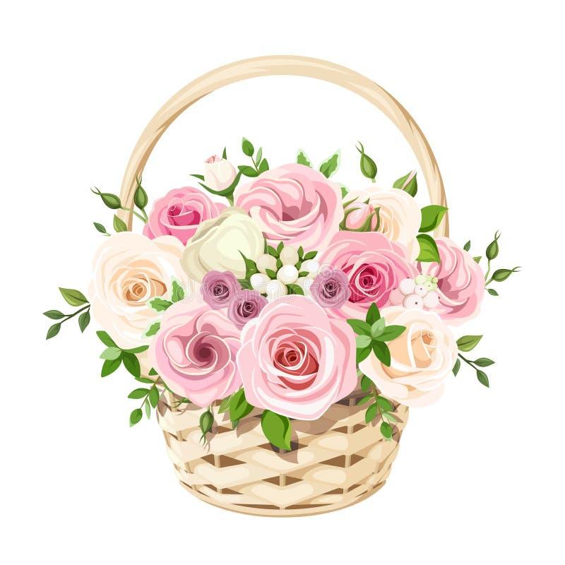 Kosz z różowymi i białymi różami również zwrócić corel ilustracji wektora royalty ilustracja