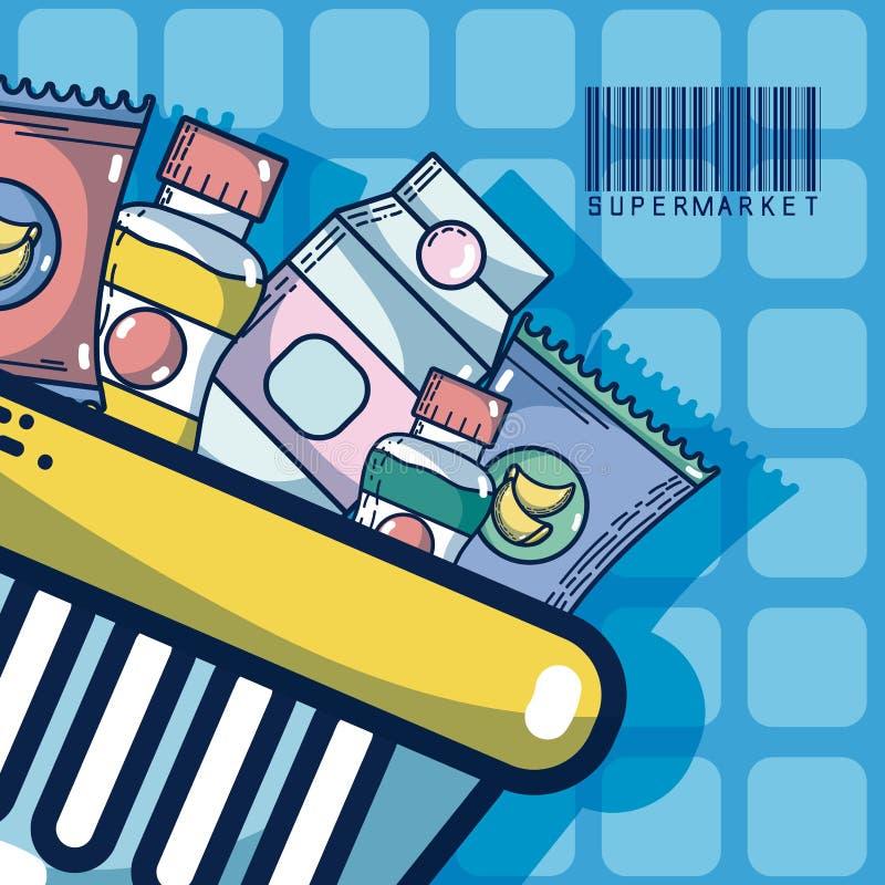 Kosz z super rynku produktami royalty ilustracja