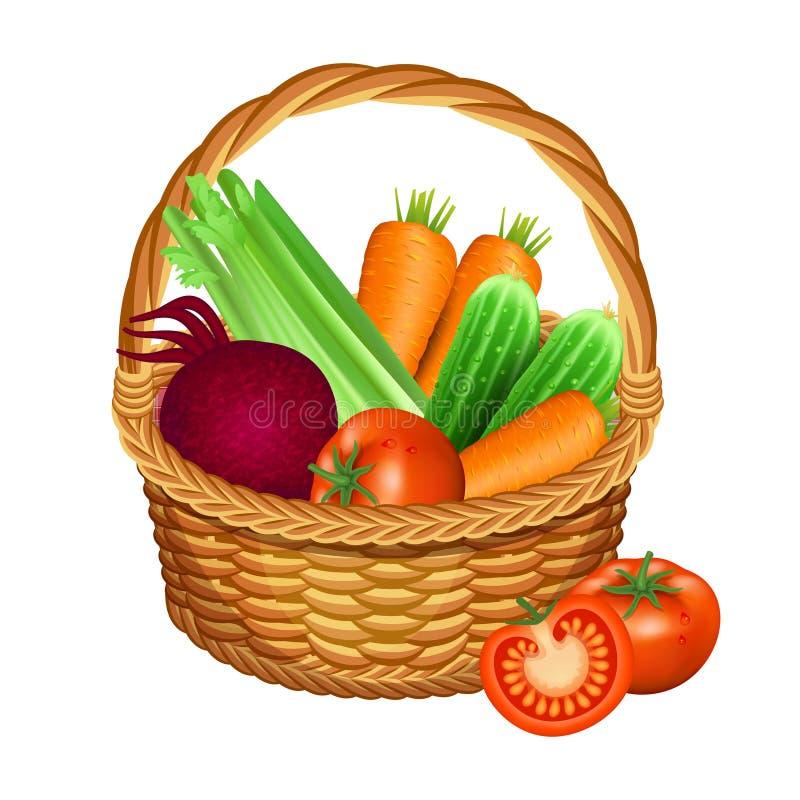 Kosz z warzywami na biel również zwrócić corel ilustracji wektora ilustracja wektor
