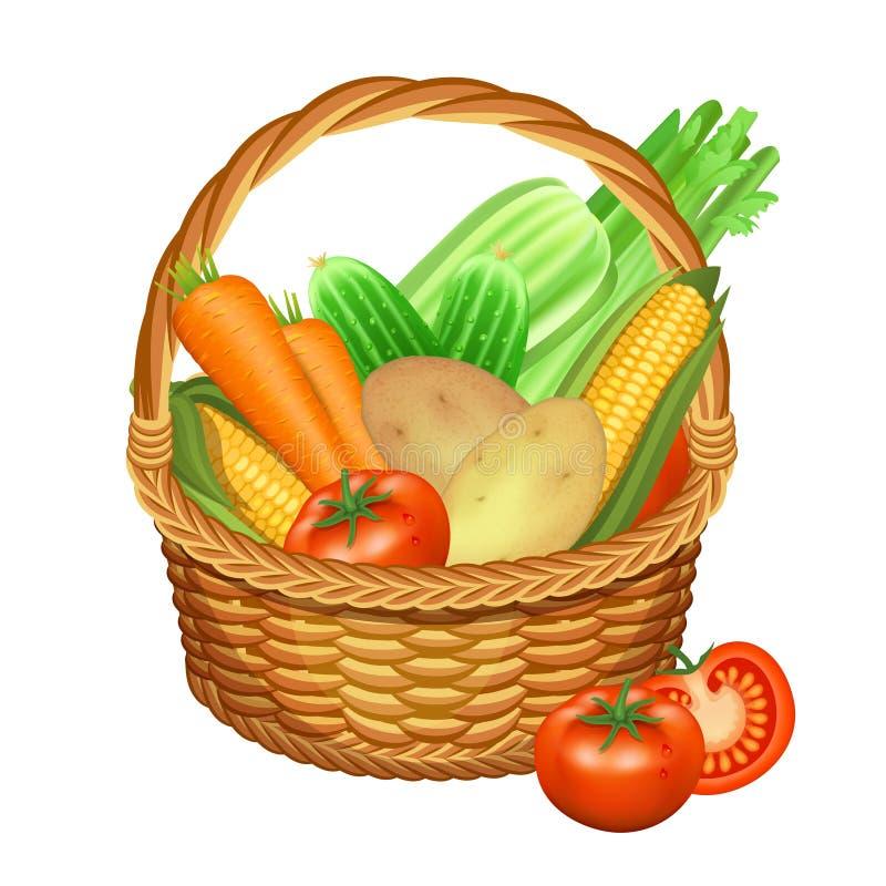 Kosz z warzywami na biel również zwrócić corel ilustracji wektora royalty ilustracja