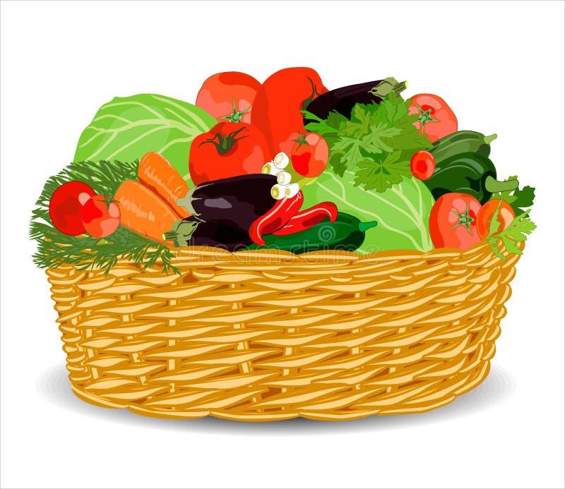Kosz z warzywami odizolowywaj?cymi na bielu r?wnie? zwr?ci? corel ilustracji wektora ilustracji