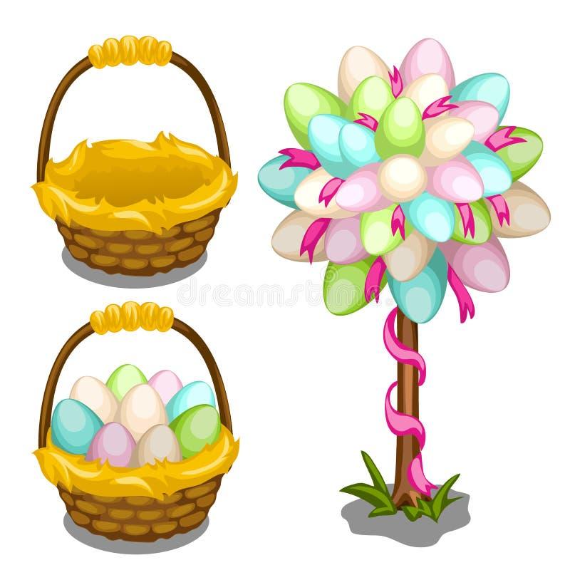 Kosz z Wielkanocnymi jajkami i drzewną dekoracją ilustracji