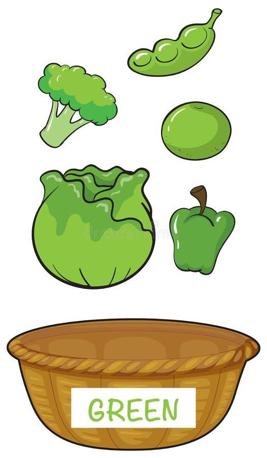 Kosz z zielonymi warzywami i owoc ilustracja wektor