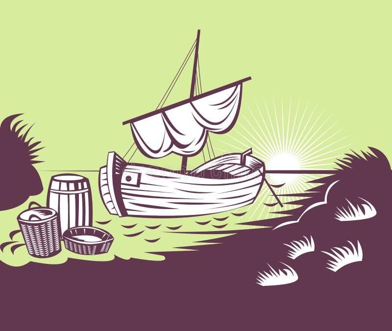 kosza połów plażowy łódkowaty ilustracji