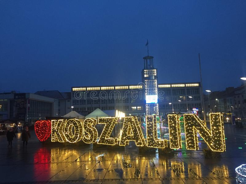 Koszalin, Poland, December 2018 City Square illumination. Christmas illumination and seasonal decoration of city square. Koszalin Poland, December 2018. I love royalty free stock image