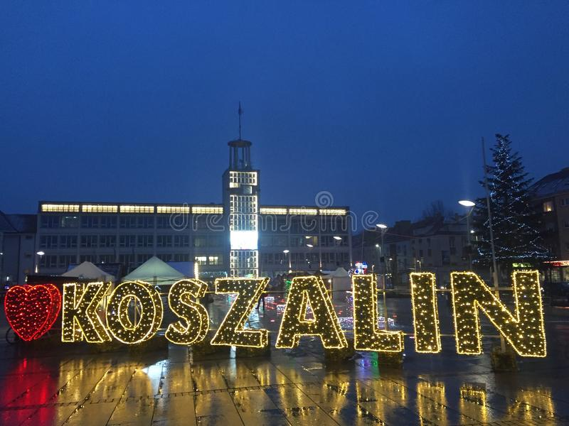 Koszalin, Poland, December 2018 City Square illumination. Christmas illumination and seasonal decoration of city square. Koszalin Poland, December 2018. I love royalty free stock photography