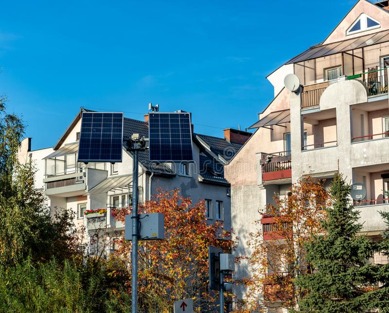 Koszalin, Poland, October 19, 2018: solar panels on the background of residential houses day royalty free stock image
