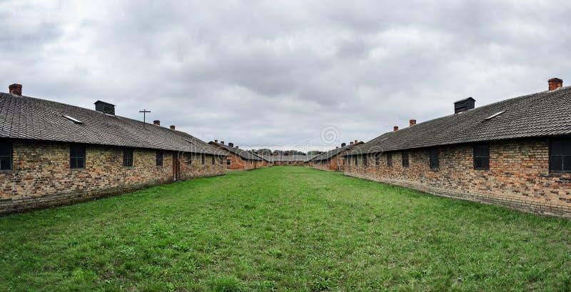 Koszaruje w koncentracyjnym obozie -, Polska, Europa (Auschwitz II) zdjęcie stock
