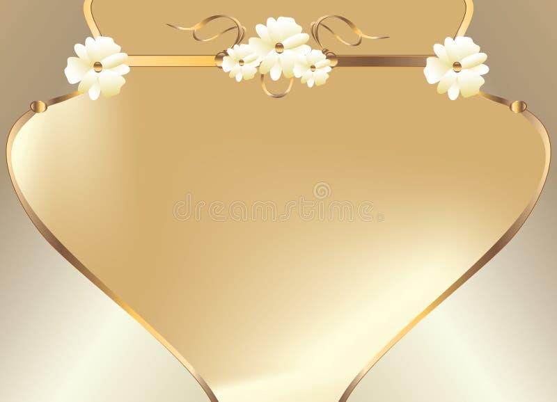 koszowego projekta kwiatu złocisty biel ilustracja wektor