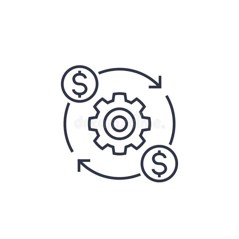 Koszt optymalizacja i produkcji wydajności ikona royalty ilustracja