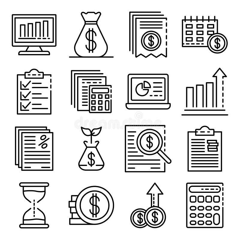 Koszt raportowe ikony ustawiać, konturu styl ilustracja wektor