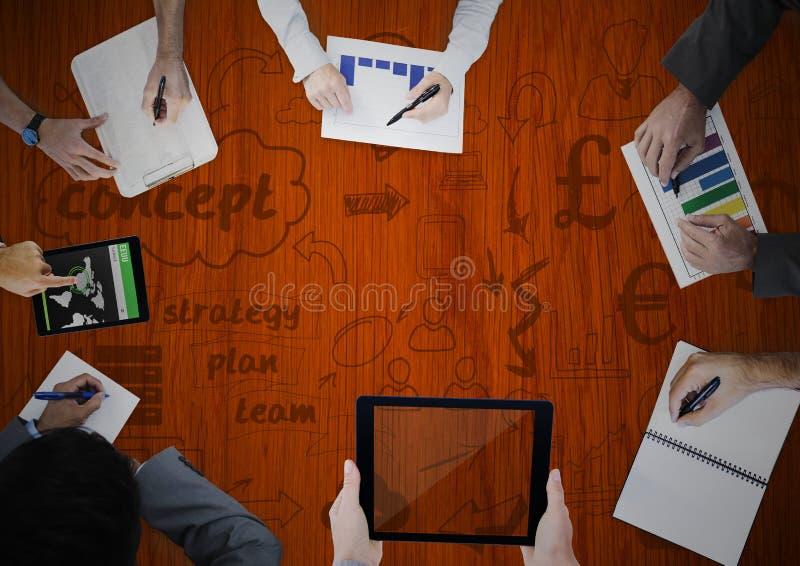Koszt stały ręki pisze z drewnianymi panelu i pojęcia doodles royalty ilustracja